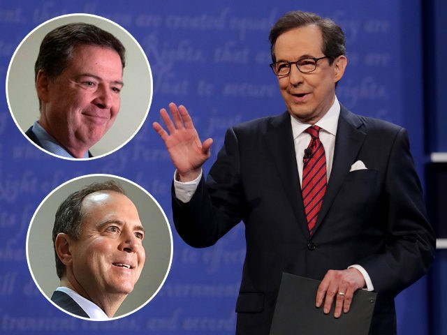 (INSETS: James Comey, Adam Schiff) LAS VEGAS, NV - OCTOBER 19: Fox News anchor and moderator Chris Wallace speaks to the guests and attendees during the third U.S. presidential debate at the Thomas & Mack Center on October 19, 2016 in Las Vegas, Nevada. Tonight is the final debate ahead …