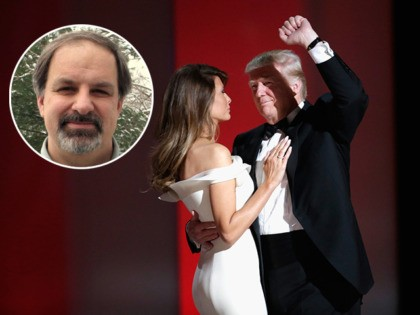 (INSET: Christianity Today Editor-in-Chief Mark Galli) WASHINGTON, DC - JANUARY 20: President Donald Trump makes a fist while dancing with wife Melania Trump at the Liberty Inaugural Ball on January 20, 2017 in Washington, DC. The Liberty Ball is the first of three inaugural balls that President Donald Trump will …