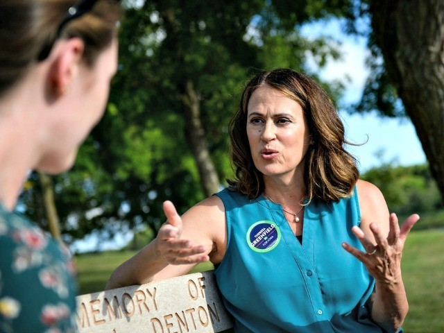 Democratic Senate candidate Theresa Greenfield speaks with a reporter at a picnic hosted by the Adair County Democrats in Greenfield, Iowa, on Aug. 11, 2019. Photo: Caroline Brehman/CQ Roll Call via Getty Images