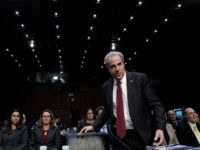 WASHINGTON, DC - DECEMBER 11: Michael Horowitz, inspector general for the Justice Department, arrives for testimony before the Senate Judiciary Committee in the Hart Senate Office Building on December 11, 2019 in Washington, DC. Horowitz is answering questions regarding the report he released Monday on the FBI's investigation into possible …