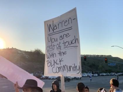 Charter school protest at Democrat debate (Joel Pollak / Breitbart News)