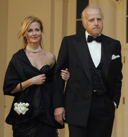 James and Sara Biden arrive at the White House to attend the State Dinner for South Korea, Thursday, Oct. 13, 2011, in Washington. (AP Photo/Haraz N. Ghanbari)