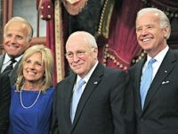 US Senator and Vice President-elect Joe Biden(R) and his wife Jill (C) and Biden's brother James (2nd-L) pose with Vice President Dick Cheney during a swearing in reenactment ceremony at the US Capitol on January 6, 2009 in Washington, DC. At left is an unidentified Biden family member. AFP PHOTO/Karen …