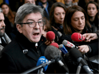 France's leftist party La France Insoumise (LFI) president Jean-Luc Melenchon answers journalists' questions on December 9, 2019 at the courthouse in Bobigny, north of the French capital Paris, following the sentence hearing of his trial after he shoved prosecutor in office during the search of October 2018 at the headquarters …