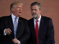 LYNCHBURG, VA - MAY 13: U.S. President Donald Trump (L) and Jerry Falwell (R), President of Liberty University, on stage during a commencement at Liberty University May 13, 2017 in Lynchburg, Virginia. President Trump is the first sitting president to speak at Liberty's commencement since George H.W. Bush spoke in …