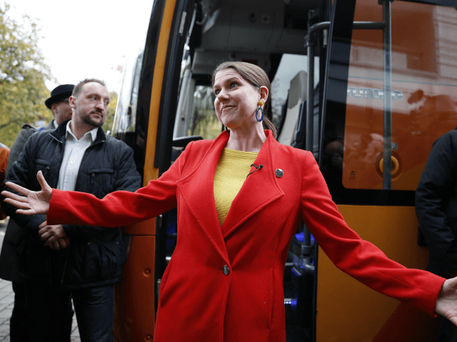 LONDON, ENGLAND - NOVEMBER 16: Leader of the Liberal Democrats Jo Swinson arrives in Bermondsey on November 16, 2019 in London, England. The Lib Dem leader is currently visiting Labour held seats in London on an electric campaign bus. (Photo by Hollie Adams/Getty Images)