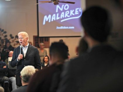 "ALGONA, IOWA - DECEMBER 02: Democratic presidential candidate, former Vice President Joe Biden speaks during a campaign stop at the Water's Edge Nature Center on December 2, 2019 in Algona, Iowa. The stop was part of Biden's 650-mile ""No Malarkey"" campaign bus trip through rural Iowa. The 2020 Iowa Democratic …"
