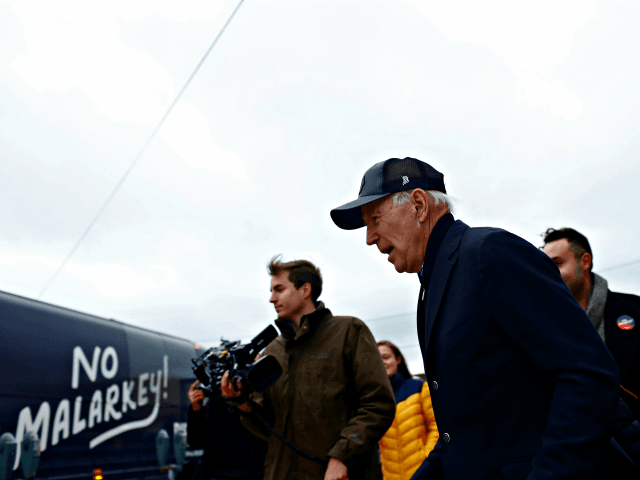 COUNCIL BLUFFS, IA - NOVEMBER 30: Democratic presidential candidate, former Vice President Joe Biden walks to his awaiting bus after speaking at a campaign event on November 30, 2019 in Council Bluffs, Iowa. Biden, who begins his eight-day bus tour across Iowa on Saturday, once lead the state in the …