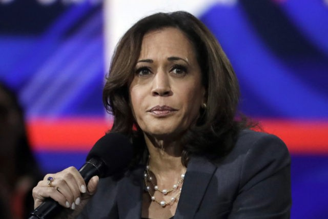 Sen. Kamala Harris, D-Calif., speaks during a presidential forum at the California Democratic Party's convention Saturday, Nov. 16, 2019, in Long Beach, Calif. (AP Photo/Chris Carlson)