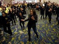 Democratic presidential candidate Sen. Kamala Harris dances as he makes her way to speak to supporters before the Iowa Democratic Party's Liberty and Justice Celebration, Friday, Nov. 1, 2019, in Des Moines, Iowa. (AP Photo/Charlie Neibergall)