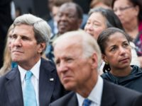US Secretary of State John Kerry (L), US Vice President Joseph R. Biden (C) and National Security Adviser Susan Rice listen while US President Barack Obama speaks at the Lincoln Memorial on the National Mall August 28, 2013 in Washington, DC. Obama and others spoke to commemorate the 50th anniversary …