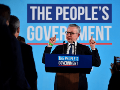 "Conservative MP Michael Gove speaks during a Conservative Party campaign event to celebrate the result of the General Election, in central London on December 13, 2019. - Prime Minister Boris Johnson on Friday hailed a political ""earthquake"" after securing a sweeping election win, which clears the way for Britain to …"