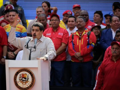 CARACAS, VENEZUELA - APRIL 06: Venezuela´s President Nicolas Maduro speaks during a gathering with supporters outside Miraflores Palace on April 6, 2019 in Caracas, Venezuela. Venezuelan opposition leader Juan Guaido, recognized by many members of the international community as the country's rightful interim ruler, called for protests throughout Venezuela to …