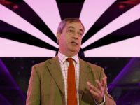 Britain's Brexit party leader Nigel Farage speaks during a general election campaign event in Doncaster, northern England on December 11, 2019. - Britain will go to the polls tomorrow to vote in a pre-Christmas general election. (Photo by Lindsey Parnaby / AFP) (Photo by LINDSEY PARNABY/AFP via Getty Images)