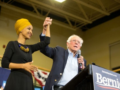 NASHUA, NH - DECEMBER 13: Democratic presidential candidate, Sen. Bernie Sanders (I-VT), and Representative Ilhan Omar (D-MN) on stage during Sanders' event at Nashua Community College on December 13, 2019 in Nashua, New Hampshire. The Iowa Caucuses are less than two months away. (Photo by Scott Eisen/Getty Images)