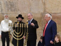 PM Netanyahu lights 1st Chanukah candle (1)