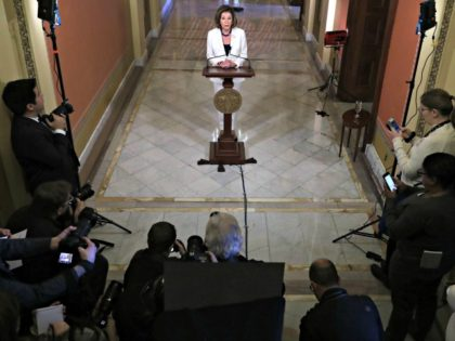 WASHINGTON, DC - DECEMBER 05: Speaker of the House Nancy Pelosi (D-CA) announced that the House will proceed with articles of impeachment against President Donald Trump at the Speaker's Balcony in the U.S. Capitol December 05, 2019 in Washington, DC. After weeks of hearings by the House Intelligence and Judiciary …