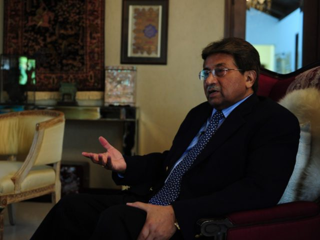 To go with Pakistan-unrest-politics-Afghanistan-India,INTERVIEW by Guillaume LAVALLÉE In this photograph taken November 14, 2014, Pakistan's former military ruler General Pervez Musharraf gestures during an interview with AFP in Karachi. The departure of NATO combat forces from Afghanistan could push India and Pakistan towards a proxy war in the troubled state …