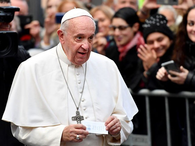 Pope Francis arrives for a visit to the Cittadella della Carita on November 29, 2019 in Rome. (Photo by Alberto PIZZOLI / AFP) (Photo by ALBERTO PIZZOLI/AFP via Getty Images)