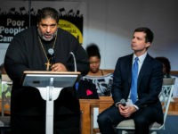 Reverend William Barber introduces South Bend, Indiana mayor and Democratic presidential candidate, Pete Buttigieg, during Sunday morning service at Greenleaf Christian Church in Goldsboro, North Carolina on December 1, 2019. (Photo by Logan Cyrus / AFP) (Photo by LOGAN CYRUS/AFP via Getty Images)