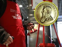 "SAN FRANCISCO, CALIFORNIA - DECEMBER 03: Salvation Army volunteer bell ringer San Arnold rings bells as he solicits donations at the Powell Street Bay Area Rapid Transit (BART) station on December 03, 2019 in San Francisco, California. The Salvation Army kicked off the Red Kettle ""Partners for Change"" campaign inside …"