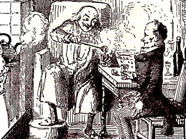 Scrooge and Cratchit Make Merry