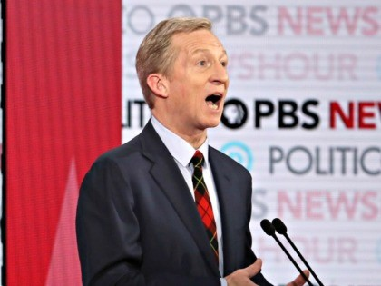 LOS ANGELES, CALIFORNIA - DECEMBER 19: Democratic presidential candidate Tom Steyer speaks during the Democratic presidential primary debate at Loyola Marymount University on December 19, 2019 in Los Angeles, California. Seven candidates out of the crowded field qualified for the 6th and last Democratic presidential primary debate of 2019 hosted …