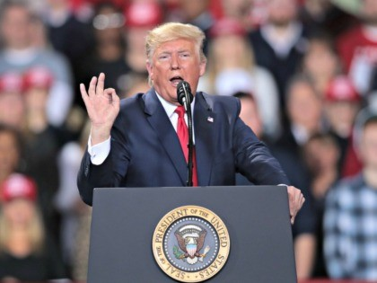 BATTLE CREEK, MICHIGAN - DECEMBER 18: President Donald Trump addresses his impeachment during a Merry Christmas Rally at the Kellogg Arena on December 18, 2019 in Battle Creek, Michigan. While Trump spoke at the rally the House of Representatives voted to impeach the president, making Trump just the third president …