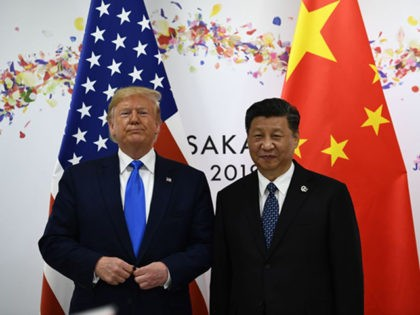 Chinese President Xi Jinping (R) and US President Donald Trump attend their bilateral meeting on the sidelines of the G20 Summit in Osaka on June 29, 2019. (Photo by Brendan Smialowski / AFP) (Photo credit should read BRENDAN SMIALOWSKI/AFP via Getty Images)