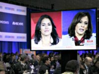 Tulsi Gabbard, Kamala Harris on Jumbo Screen