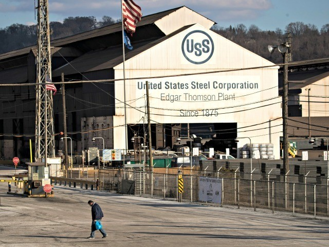 BRADDOCK, PA - MARCH 10: A worker leaves U.S. Steel Edgar Thomson Steel Works, March 10, 2018 in Braddock, Pennsylvania. On Thursday, President Donald Trump signed an order to impose new tariffs on imported steel and aluminum. Trump is visiting the state on Saturday evening for a rally with Republican …