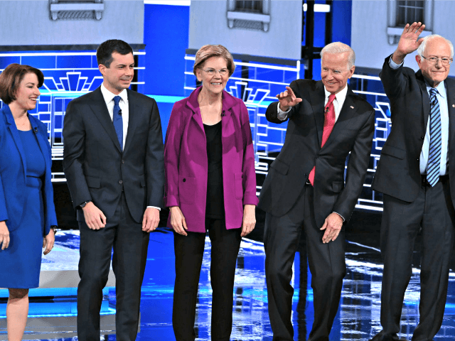 Democratic presidential hopefuls, Minnesota Senator Amy Klobuchar, Mayor of South Bend Pete Buttigieg, Massachusetts Senator Elizabeth Warren, Former Vice President Joe Biden, Vermont Senator Bernie Sanders. (Saul Loeb/AFP/Getty Images)