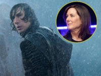 "Adam Driver as Kylo Ren in ""Star Wars: The Rise of Skywalker."" Inset: Lucasfilm's Kathleen Kennedy."