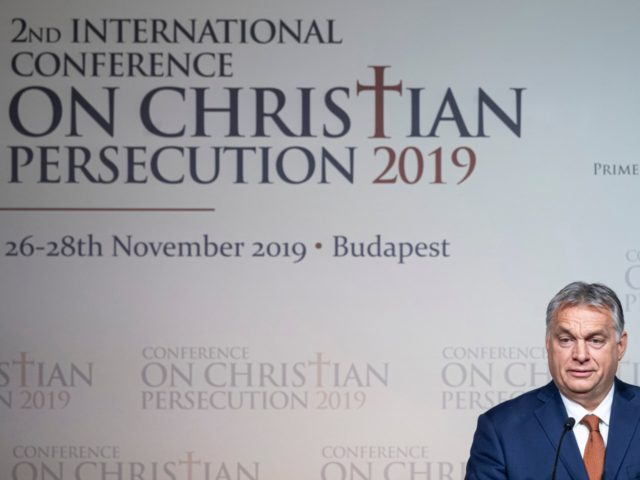 Hungarian Prime Minister Viktor Orban addresses the 2nd International Conference on Christian Persecution in a hotel in Budapest, Hungary, Tuesday, Nov. 26, 2019. (Zsolt Szigetvary/MTI via AP)