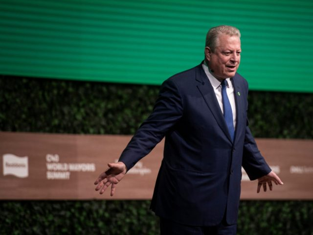 Former Vice President of the United States Al Gore speaks during the C40 World Mayors Summit at the Tivoli Convention Center in Copenhagen, Denmark, on October 10, 2019. (Photo by Ida Guldbaek Arentsen / Ritzau Scanpix / AFP) / Denmark OUT (Photo by IDA GULDBAEK ARENTSEN/Ritzau Scanpix/AFP via Getty Images)