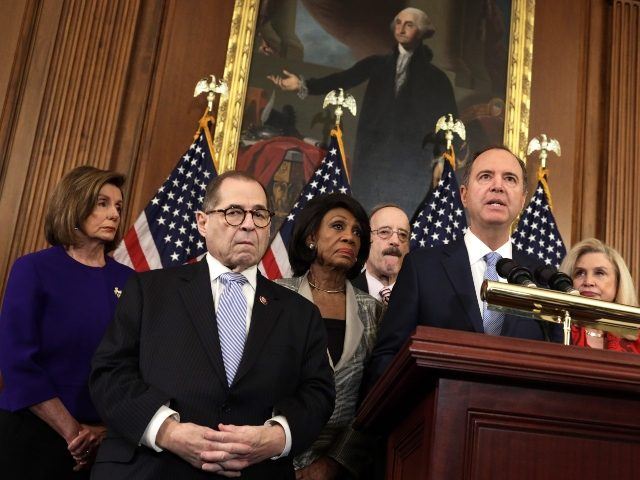 WASHINGTON, DC - DECEMBER 10: Chairman of House Intelligence Committee Rep. Adam Schiff (D-CA) (2nd-R) speaks as (L-R) Speaker of the House Rep. Nancy Pelosi (D-CA), Chairman of House Judiciary Committee Rep. Jerry Nadler (D-NY), Chairwoman of House Financial Services Committee Rep. Maxine Waters (D-CA), Chairman of House Foreign Affairs …
