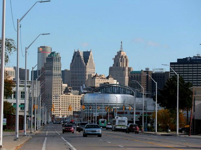 The Detroit skyline is seen from Grand River Avenue on October 23, 2019 in Detroit, Michigan. - Sims is co-founder of the nonprofit Project We Hope, Dream, and Believe, a youth mentoring organization and hopes to restore the home. Outside the dilapidated home where Malcolm X once lived, Aaron Sims …