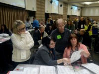 Lainie Smith, of Commerce, Aileen Dickson, City Clerk of Troy, Donna Glowacki, of Lake Orion, and Cheryl Stewart, of Troy, recount presidential ballots at the Oakland Schools Conference Center on December 5, 2016 in Waterford Township, Michigan. Recounts began in two Michigan counties today, after a federal judge ordered a …