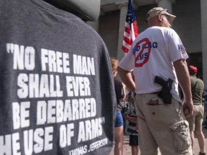 COLUMBUS, OH - SEPTEMBER 14: Gun owners and second amendment advocates gather at the Ohio State House to protest gun control legislation on September 14, 2019 in Columbus, Ohio. The group stood against red flag laws proposed by Ohio Governor Mike DeWine and national politicians in the wake of a …