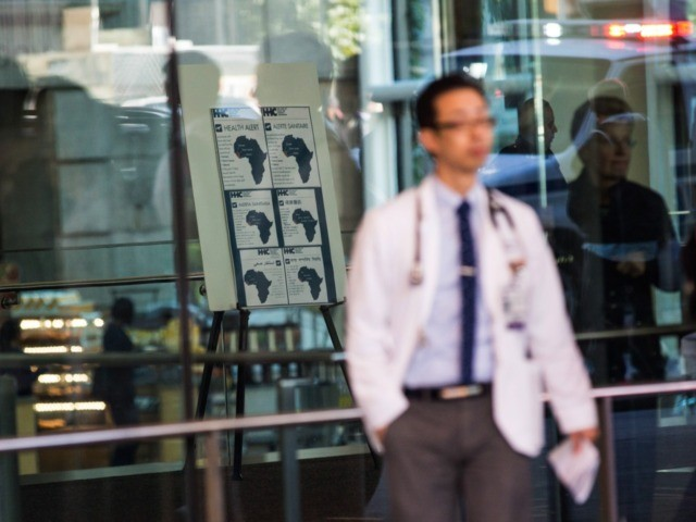 NEW YORK, NY - OCTOBER 27: Signs regarding the ebola outbreak and treatment are posted at the entrance to Bellvue Hospital, where a 5-year-old was brought early this morning after showing ebola-like symptoms after recently returning from West Africa, on October 27, 2014 in New York City. Bellvue Hospital is …