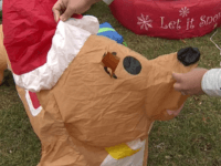 Three people slashed holiday inflatables at a Raytown home overnight. Three were stabbed. The family was able to repair two (Mickey and friends), but Santa's dog didn't make it. A police report hasn't been filed but coal is expected for Christmas.