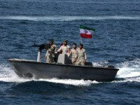 "Iranian soldiers take part in the ""National Persian Gulf day"" in the Strait of Hormuz, on April 30, 2019. - The date coincides with the anniversary of a successful military campaign by Shah Abbas the Great of Persia in the 17th century, which drove the Portuguese navy out of the …"