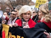 Actress Jane Fonda (C) joins a rally to protest against climate change in Washington, DC, on December 6, 2019. (Photo by JIM WATSON / AFP) (Photo by JIM WATSON/AFP via Getty Images)