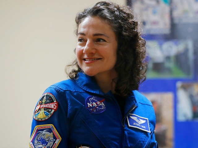 U.S. astronaut Jessica Meir, member of the main crew to the International Space Station (ISS), attends a news conference in Russian leased Baikonur cosmodrome, Kazakhstan, Tuesday, Sept. 24, 2019. The new Soyuz mission to the International Space Station (ISS) is scheduled on Wednesday, Sept 25. (AP Photo/Dmitri Lovetsky)