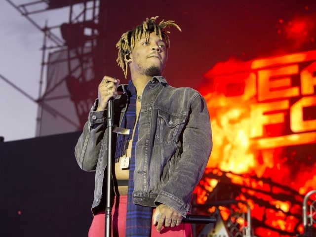 """Juice Wrld performs in concert during his """"Death Race for Love Tour"""" at The Skyline Stage at The Mann Center for the Performing Arts on Wednesday, May 15, 2019, in Philadelphia. (Photo by Owen Sweeney/Invision/AP)"""