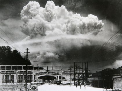 View of the radioactive plume from the bomb dropped on Nagasaki City, as seen from 9.6 km away, in Koyagi-jima, Japan, August 9, 1945. The US B-29 superfortress Bockscar dropped the atomic bomb nicknamed 'Fat Man,' which detonated above the ground, on northern part of Nagasaki City just after 11am. …