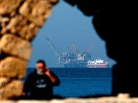A view of the platform of the Leviathan natural gas field in the Mediterranean Sea is pictured from the Israeli northern coastal city of Caesarea on December 19, 2019. - Israel has approved the export of gas from its offshore reserves to Egypt, a spokeswoman said on December 17, with …