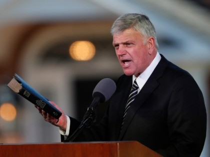 In this March 2, 2018 file photo, Pastor Franklin Graham speaks during a funeral service at the Billy Graham Library for the Rev. Billy Graham, who died last week at age 99 in Charlotte, N.C. Graham has denounced the impeachment investigation of President Donald Trump, but this week asked followers …