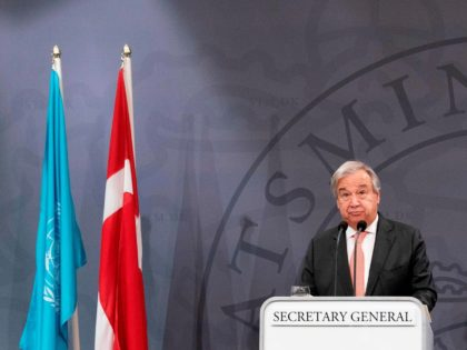 Prime Minister Mette Frederiksen and UN Secretary-General António Guterres hold a press conference in the Mirror Hall at Christiansborg Palace in Copenhagen, on October 10, 2019. (Photo by Claus Bech / Ritzau Scanpix / AFP) / Denmark OUT (Photo by CLAUS BECH/Ritzau Scanpix/AFP via Getty Images)