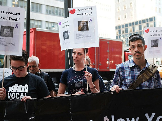 "NEW YORK, NY - AUGUST 17: Recovering drug users, activists and social service providers hold a morning rally calling for ""bolder political action"" in combating the overdose epidemic outside of the office of Governor Andrew Cuomo on August 17, 2017 in New York City. According to the latest data available …"